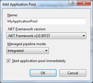 Create a new application pool